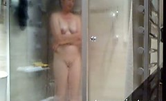 Spying my 42 years showering mother