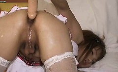 Asian shemale teenie in stockings