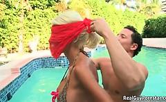 Busty blonde babe goes crazy sucking