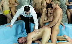 Bi group fucking and handjob