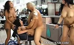 Crazy amateur groupsex in barber shop