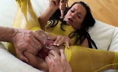 Bizarre mature latex amateur wife extreme anal double