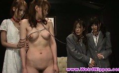 Four japanese teen babes are tied up