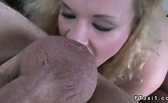 Blonde flashing big tits and anal fucking in taxi