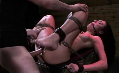 brunette beauty tied and fucked by machine