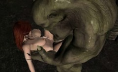 Hot 3D redhead elf babe getting fucked by an orc