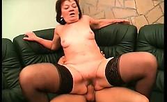 Nasty and horny redhead ripe slut with some sexy stocking