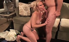 Very hot and sexy blonde slut for her age gives great