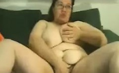 Big fat BBW granny with big boobs smokes