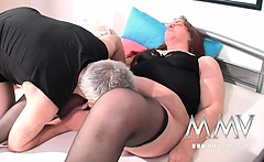 German slut helping a couple to solve sex issues