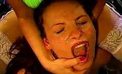 German bukkake sluts drenched in cum shower