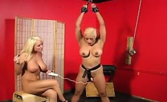Busty Lesbian Slave Getting Toyed With