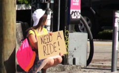 Stranded teen London Smith hitchhikes and fucks stranger