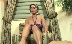 Femdom babes sexy feet rub cock