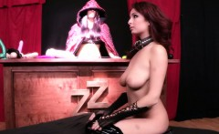 Squirting latex redhead with saggy tits