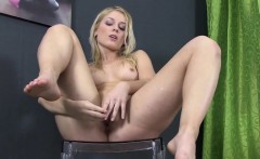 stunning blonde pissing babe plays with toys