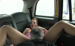 Huge boobs amateur blonde ho messy facial in the cab