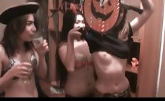 Inky Halloween lesbian threesome