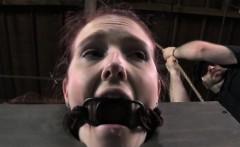 BDSM sub in slave mask gets dildofucked