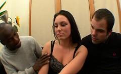 Cute brunette Victoria fucked in a threesome