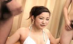 Subtitled CFNM bikini Japanese amateur double handjob