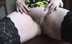 Mature hairy BBW with big round ass posing