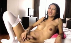 Asian TS tranny in solo tugging her big dick