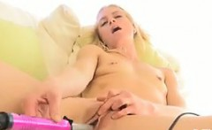 Fit Blonde Girl Masturbating With Her Toy