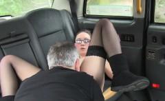 Tattooed busty amateur bangs in taxi public spycam