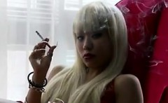 Blonde Asian Babe Smoking A Cigarette