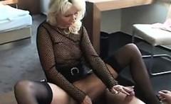 Blonde MILF Wearing Lingerie Sucks Cock