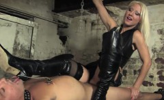 Pissing femdoms painful session with sub