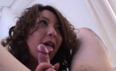 Luna Mikami strokes, sucks and rides cock till gets cum on