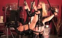 Nasty dominatrix pegging an old subs old ass