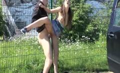 Wild amateur brunette making a hot sex tape in public