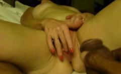 Mature cougar masturbates for her black lover