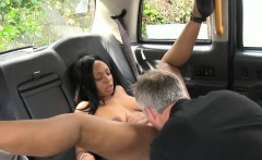 Big tits ebony gives head and pussy pounded by horny driver