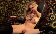 busty blonde sarah jessie plays with her pussy