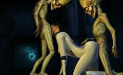 3D cartoon babe getting double teamed by aliens