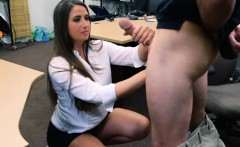 Brunette with big ass fucked by nasty pawn guy in backroom