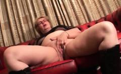 Mature blonde BBW masturbates with dildo