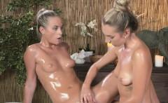 Blonde lesbians fingering in massage