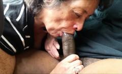 Amateur Granny eating a black dick