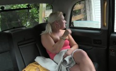 Chubby blonde passenger gets her twat ripped by fraud driver