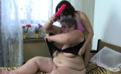 Masturbating fat granny gets company
