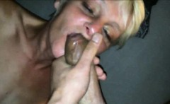 Blonde MILF blowing cock and eating cum