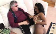 Two ebony stunners share a massive meat pole