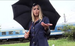 beautiful stewardess hitchhikes and gets fucked in public