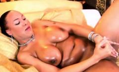 Corpulent shemale with massive tits jerks huge black cock