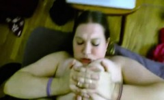 Her huge breasts are fucked by man hard
